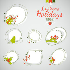 Merry Christmas vector drawing frames