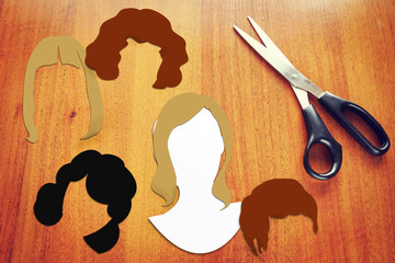Concept of different female haircuts