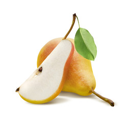 One fresh pear and quarter piece isolated on white background