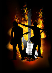 Duo guitarist with fire background guitar burning vector