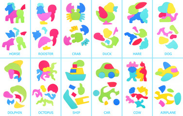 Collage of foam puzzle. Assembled and disassembled puzzles