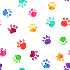 Watercolor illustration with animal footprints