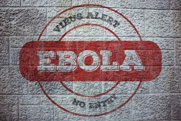Composite image of ebola virus alert stamp