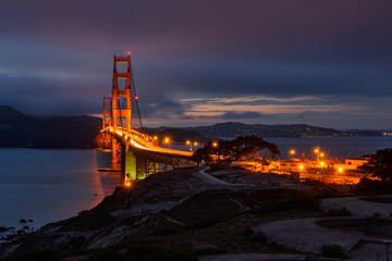 Night Illumination in Golden Gate bridge, San Francisco, CA