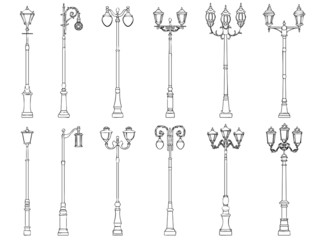 Set of vector illustrations of lamppost.
