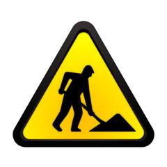 Baustelle Schild gelb schwarz