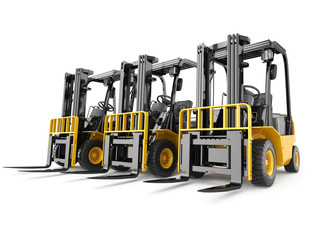 Wall Mural - Forklift truck on white isolated background.