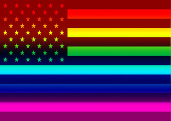 An American flag symbol against a rainbow colored background.