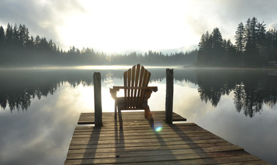 Chair on Dock at Alice Lake in Late Afternoon Wall mural