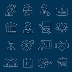 Business management icons outline