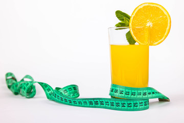 Glass of juice and meter
