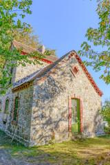 Greece Autumn fall, stone houses