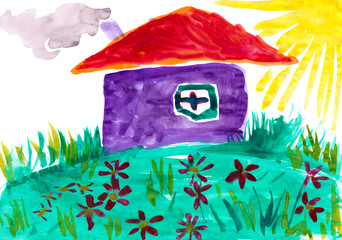 Home on meadow with flowers. Childlike drawing.