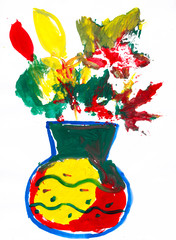 vase with autumn leaves and flowers. child drawing