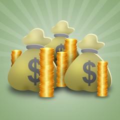 Borse di dollari e monete
