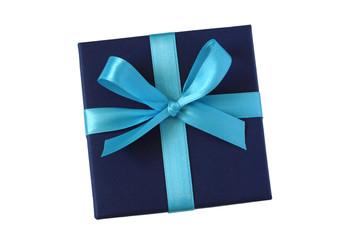 Blaue Geschenkschachtel mit Schleife - freigestellt