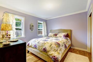Bedroom in light lavender color