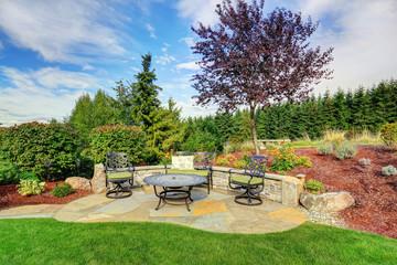 Romantic sitting area with picturesque landscape