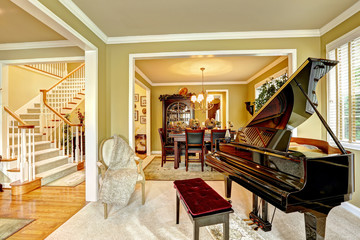 Luxury family room with grand piano