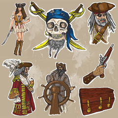 pirates - an hand drawn colored vector pack no.1