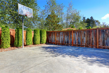 Backyard with basketball court