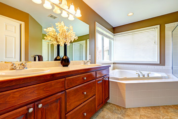 Luxury bathroom interior with corner bath tub