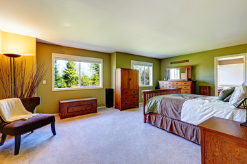 Master bedroom interior in bright green color