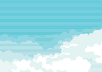 Cloudscape. Vector  background of blue sky at retro style