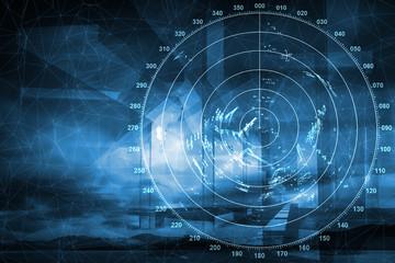 Modern ship radar digital screen above blue abstract background
