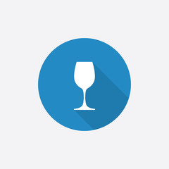 wineglass Flat Blue Simple Icon with long shadow.