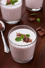 Milkshake with strawberry, chocolate and mint