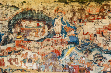 Over 300 year old mural paintings in Thailand.