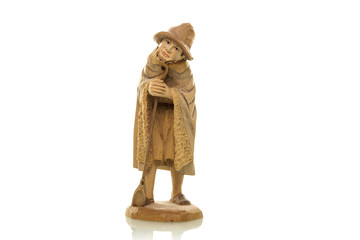Holzfigur Hirte Weihnachtskrippe