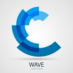Vector wave company logo design, business symbol concept