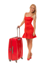 blonde woman wearing dress with big red suitcase
