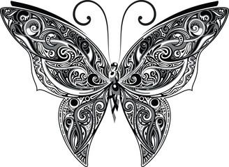 Openwork butterfly, monochrome