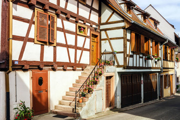 Traditional half-timbered houses in Alsace