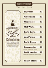 menu list for coffee house with a cup of grain and