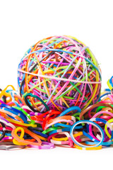 colorful wonder loom band rubber ball isolated on white