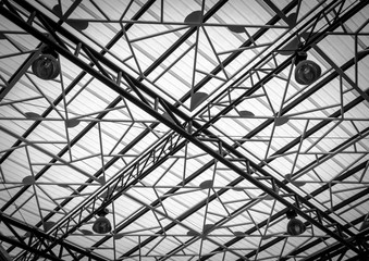 iron roof frame in interior