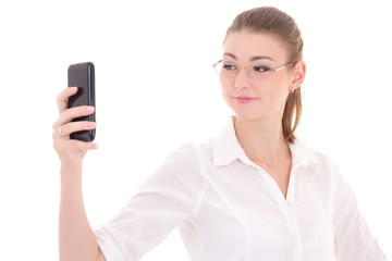 "beautiful business woman taking a ""selfie"" with mobile phone iso"