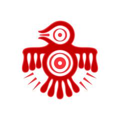 Aztec spirit bird red symbol isolated