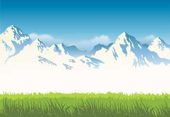 snowcapped mountains with grass - background