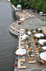 The beach in Gorky Park on the banks of the Moscow river