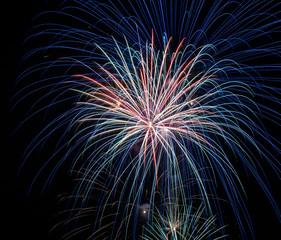 Firework exploding in the sky