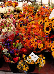 A colorful flower stall.