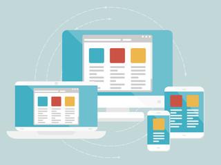 Responsive web design concept. Flat design web icons Wall mural