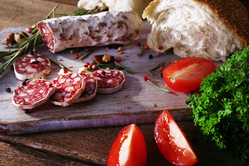 French salami with tomatoes, parsley and bread