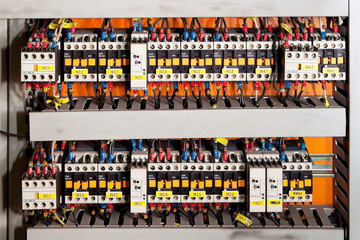 Electrical panel with fuses and contactors.