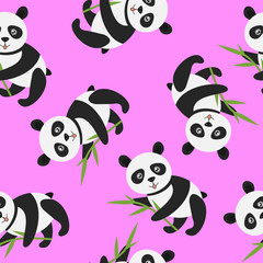 Cute panda with bamboo over pink - seamless pattern